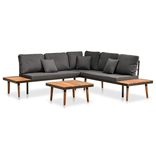 FAMIROSA Set de Muebles de jardín 4 Piezas con Cojines Madera de Acacia