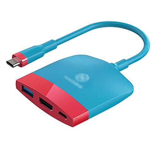 SHYPT Estación de Acoplamiento portátil multifunción USB C a 4K Compatible con HDMI USB 3.0 PD para MacBook Pro (Color : Red Blue)