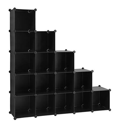 SONGMICS Scaffale a 16 Cubi, con Sistema Fai-da-Te, Organizzatore Stabile in Plastica PP, Guardaroba, Divisori per Armadio, Scarpiera, per Camera da L
