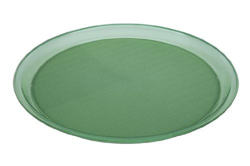 Ornamin Tablett Ø 37 cm grün-transparen, rund | Serviertablett aus Kunststoff mit Antirutsch-Oberfläche | Gastrotablett, Profitablett, Kellnertablett