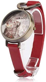 Fashion Leather Strap Watches Retro 3D Dial Bird Style Fashion PU Band Quartz Wrist Watch (Color : Red)