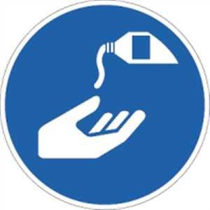 Aufkleber Hautschutzmittel benutzen nach ISO 7010 5cm Ø Folie 10 Stück