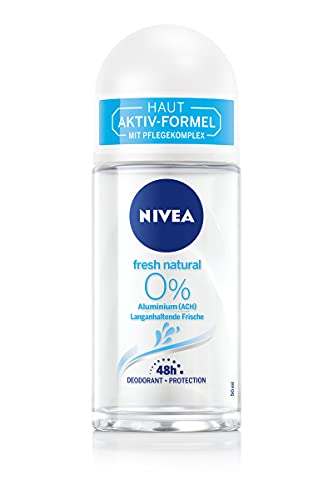 NIVEA Fresh Natural Deo Roll-On (50ml), Deo ohne Aluminium (ACH) mit Meeresextrakten und kühlender Formel, Deodorant mit 48h Schutz und sanfter Pflege