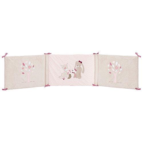 Nattou Bettnestchen zum Wenden, Für Kinderbetten mit einer Breite von 60-70cm, 180 × 40 × 3cm, Nina, Jade und Lili, Rosa/Beige