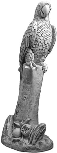 gartendekoparadies.de Massive Steinfigur Statue Papagei Vogel Gartendeko Raumdeko Steinguss frostfest