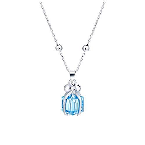 Collar de Inspiración Caja de regalo azul creativa colgante, collar de plata, dulce regalo for la novia, collar del amor Regalo, Cuadrado (cadena de plata) Exquisita Decoración para Mujeres y Niñas