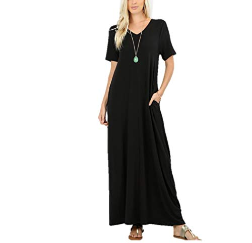 Zenana Women's Premium Casual Long Relaxed Loose T-Shirt Maxi Dress with Half Sleeves and Pockets (Black, XLarge)