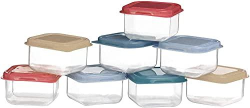 Premier Housewares Aufbewahrungsboxen mit Deckel, 8-teilig, luftdicht, Kunststoff, mit bunten Deckeln, 13 x 7 x 22 cm
