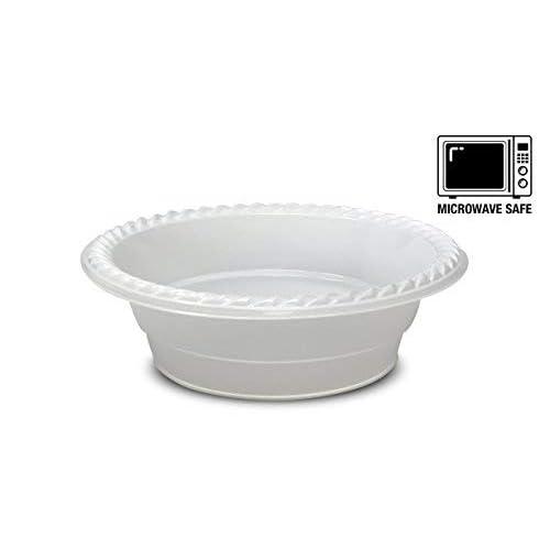 [100pezzi] di alta qualità extra forte scodelle in plastica usa e getta, forno a microonde, senza BPA e senza stirene, bianco (340,2gram–350ml.)