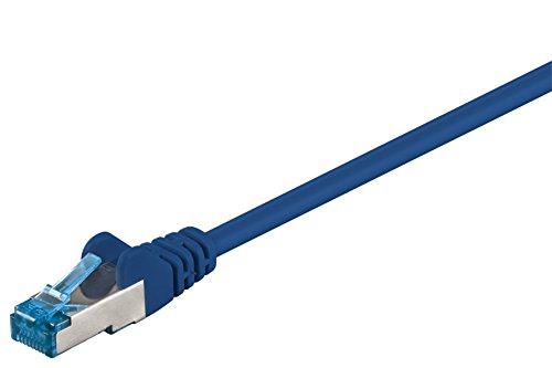 Goobay 92726 CAT 6a PatchKabel, EthernetKabel, doppelt geschirmt, S-FTP bis 10000 Mbits, 500 Mhz, halogenfrei Kupfer Kabel, RJ-45 Stecker, vergoldete Kontakte, 7,5m, Blau