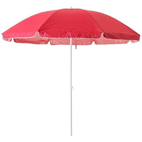 Arcoiris Sombrilla Playa, Parasol de Aluminio Protección Solar UPF+50 (200cm, Rojo)