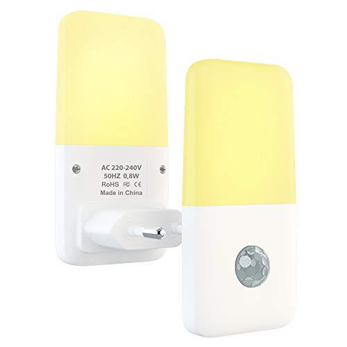 Babyliya LED Nachtlicht Steckdose mit Bewegungsmelder, Automatisch Auf/Aus Warmweiß Nachtlichter für Flur, Küche, Treppe, Bedzimmer, Kinderzimmer, Schlafzimmer, Wohnzimmer, 2 Stück