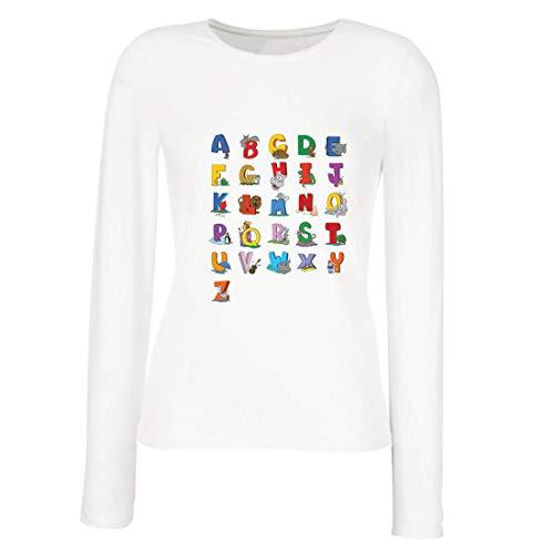 lepni.me Camisetas de Manga Larga para Mujer Alfabeto Inglés, Diseño de Canciones ABC, Aprendizaje de Letras, Regreso a la Escuela o Regalos de Graduación (Small Blanco Multicolor)