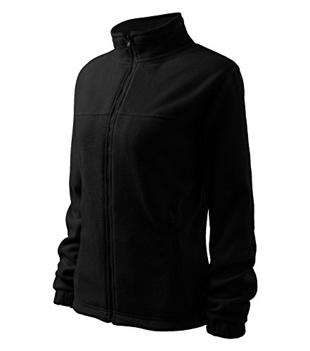 Damen Fleece Jacket Hochwertige Fleecejacke Anti-Pilling (L, schwarz)