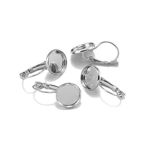 JINAN 8 10 12 14 16 18 20 25 mm Hebel Cabochon Ohrring Fassung Blank Ohrring Basis Cameo Lünette Tablett (Farbe: Rhodium, Größe: 18 mm x 10 Stück)