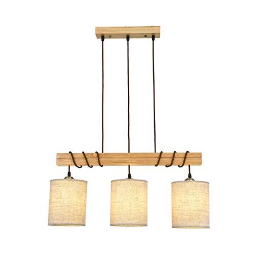 Sólido Madera tela de la lámpara 3 candelabros, creativa personalizada mesa de comedor y comedor LED Lámpara de Madera