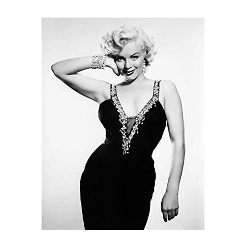 cuadros decoracion lienzowall art Imagen de la estrella de cine clásica Marilyn Monroe imprime pintura de figura en blanco y negro(60x90cm-Frameloos )