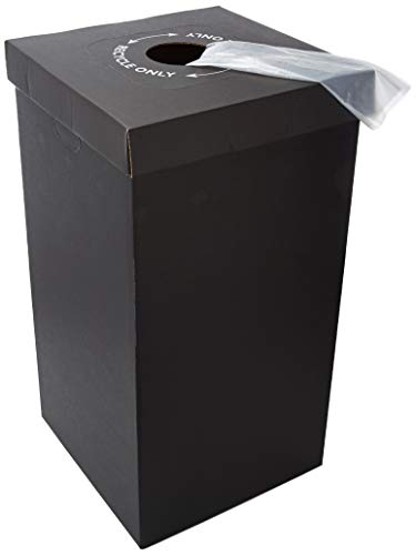 One Earth Disposable and Reusable Corrugated Cardboard Trash and Recycling Boxes: Bin + Lid + Trash Bag- Black (Qty. 10 Sets)