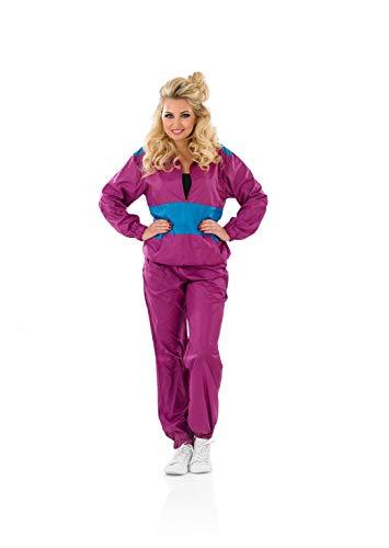 Fun Shack Lila 80er Jahre Trainingsanzug Kostüm für Damen, Mottoparties/ Halloween/ Fasching - S