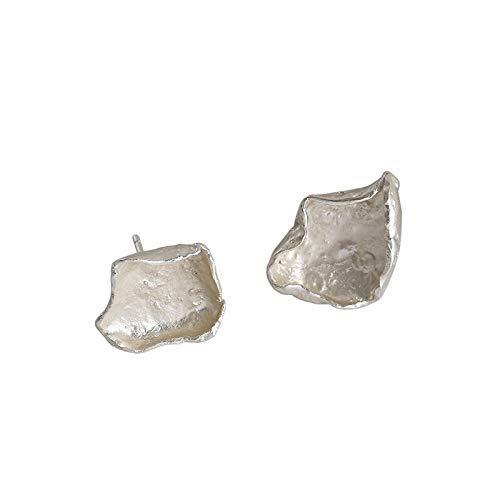 Zaaqio Pendientes de Plata de Ley 925 para Mujer Asimetría Pendientes de botón de Oro Joyería Fina
