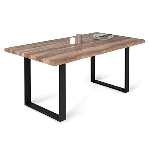 IDMarket - Table à Manger Dakota 6 Personnes Pieds Forme en U Design Industriel 160 cm