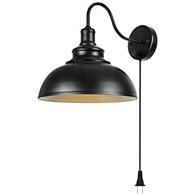 Gooseneck Wall Lamp Black Industrial Vintage Farmhouse Wall Sconce Lighting Gooseneck Wall Light Fixture with Plug in Cord and On Off Toggle Switch for Bedroom Nightstand
