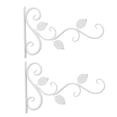Colgante colgante Planta soporte metálico ganchos de percha pared del hierro soporte de la cesta Holder blanca para la decoración del jardín Balcón 2 piezas, bastidor de suspensión