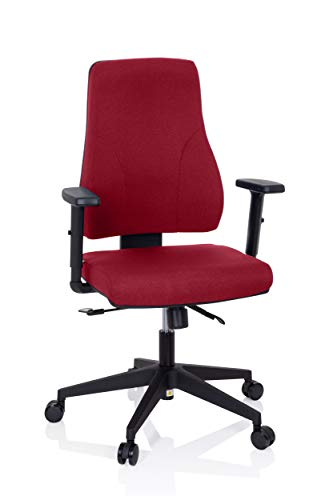 hjh OFFICE 810016 Profi Bürostuhl Mathes Stoff Rot Drehstuhl ergonomisch, Rückenlehne & Armlehnen höhenverstellbar