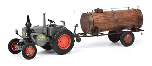 Schuco 450769400 - Lanz Bulldog mit Güllefaß, Bulldog (Die - Cast) und Fassanhänger (Holz/Lasercut), Modellauto, 1:32, semi - matt grau