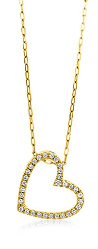 Miore Kette Damen 0.17 Ct Diamant Halskette mit Anhänger Herz Kette aus Gelbgold 18 Karat / 750 Gold, Halsschmuck mit Diamanten Brillianten 45 cm lang