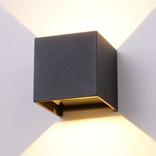 INHDBOX 12W LED Wandleuchte Aussen Wandlampe Außenlampe Mit Einstellbar Abstrahlwinkel IP65 Wasserdicht LED Außenwandleuchte Wandbeleuchtung Innen/Außen Warmweiß - Anthrazit