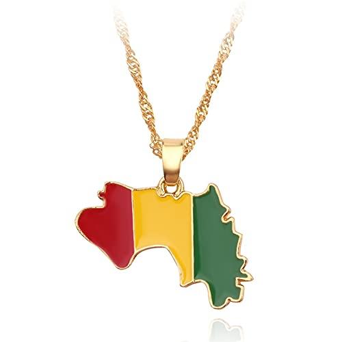Kkoqmw Mapa de Guinea Collares Pendientes para Mujeres Hombres Mapa de Joyas de Color Dorado