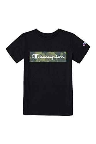 Champion Boys Short Sleeve Logo Tee Shirt (Large, Black Camo)