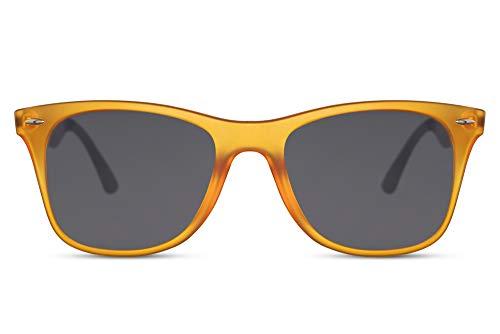 Cheapass Gafas de Sol Mate Naranja Clásicas Marco Oscuras Lentes Aluminio Patillas UV400 Festival Hombres Mujeres