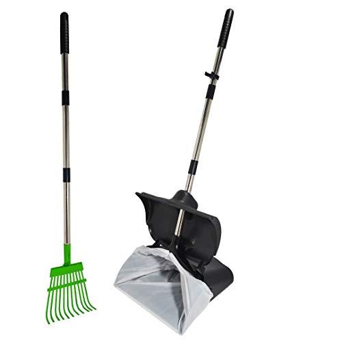 Hygena Scoop XL Large Odor Blocking Swivel Bin & Long Handle Stainless Steel Poles Rake Large Bag Pooper Scooper for Clean Pet Waste Removal