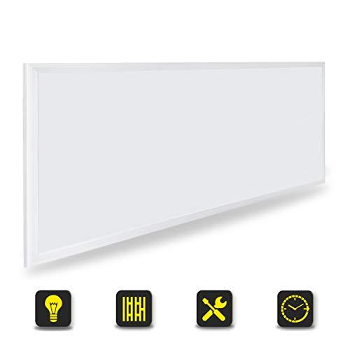 [Pro High Lumen]OUBO LED Panel 120x60cm Deckenleuchte 72W 9000 Lumen Warmweiss 3000K Weißrahmen, Einbauleuchten Set 230V, Wandleuchte, inkl. Netzteil
