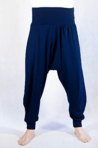 Pantalones Yoga Pilates Harem Etnicos Cagados Thai Uniforme Comodos Unisex Tallas (Azul Marino, L)
