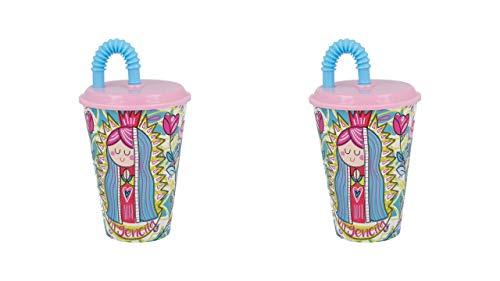 2721; set van 2 glazen met anti-reflecterende staaf; virgencita; plastic product; BPA vrij; inhoud 430 ml