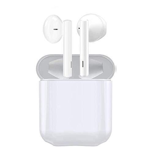 Écouteurs Bluetooth 5 sans Fil Stéréo Oreillettes, 25 Heures d'Autonomie avec Étui de Chargement, Contrôle Tactile, Couplage Bluetooth, Microphones Intégrés pour Android et iOS