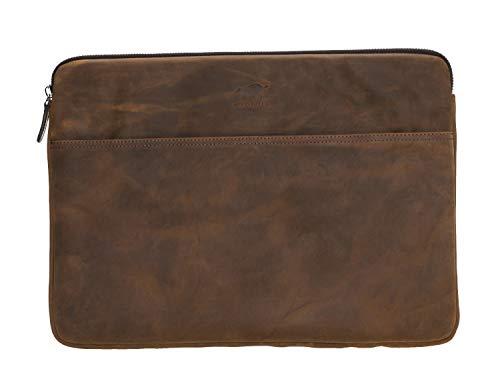 Solo Pelle Ledertasche für das Apple MacBook Pro 15 Zoll/16 Zoll Lederhülle Case Hülle Awenta Tasche aus echtem Leder in Vintage Braun