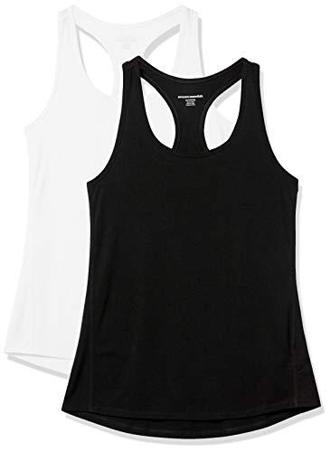 Amazon Essentials Studio Lightweight Racerback Tank Camisa, 2-Pack Black/White, S