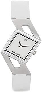 Fastrack Basics Women's White Dial Leather Band Watch - T6035SL01