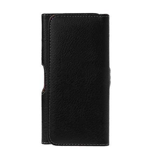MYhose Soporte de Cintura Universal Hombres Negro Cinturón de Cuero Holster Clip Bolsa de teléfono Bolsa de Cintura Horizontal para Accesorios de teléfono móvil Negro 4