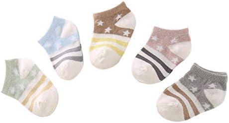 DEBAIJIA 5 Pares de Calcetines de Algodón para Bebé Calcetines Cortos para Niños de 3-5 años Calcetines Suaves y Respirable para Niñas niños para la Primavera Verano en Otoño - Estrella - L