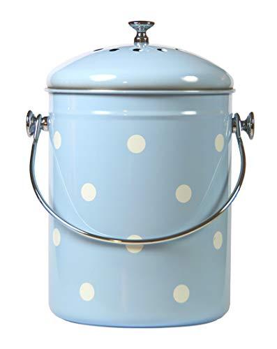 Mount Delectable Komposteimer für die Küche, mit Deckel, Blau, Edelstahl, 5 Liter, geruchsfrei, versiegelt mit Kohlefiltern