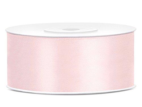 Simplydeko Satinband | Satin-Band/Schmuckband | Satinbänder (Puder-Rosa, 25mm)