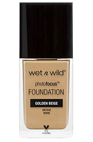Wet N Wild – Photofocus Foundation – flüssig Foundation mit lichtreflektierenden Pigmenten, Golden Beige, 1 Stk. 30ml