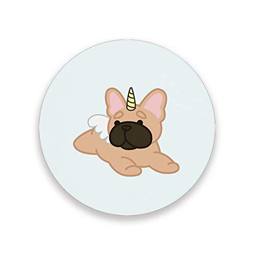 CHEHONG Posavasos absorbentes tumbados Bulldog de cerámica con base de corcho para café, decoración del hogar, oficina, tazas de cristal y mesa de comedor, Cerámica + base de corcho., Color, 4 unidades