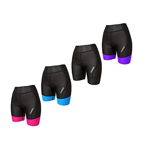 "Zimco Active Womens Triathlon Shorts Womens Tri Shorts Triathlon Shorts Women 7"" Triathlon Training Tri Shorts Swim Bike Run (Black/Pink, Small)"