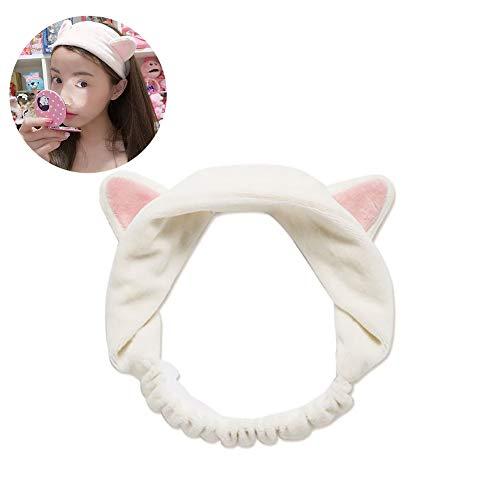 Xiton 1 PZ Morbido Elastico Cat Hairband Hair Shower Creativo Lavaggio Viso Fasce di Trucco Hairbands Beauty Spa Fasce Per Le Donne Ragazze (Bianco)